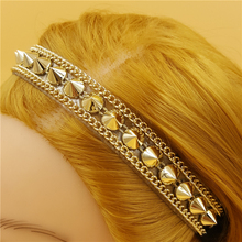 120pcs/lot women lady's sparkly fashion gold color rivet  Headband luxury retro Hairband Hair Band Accessories wholesale