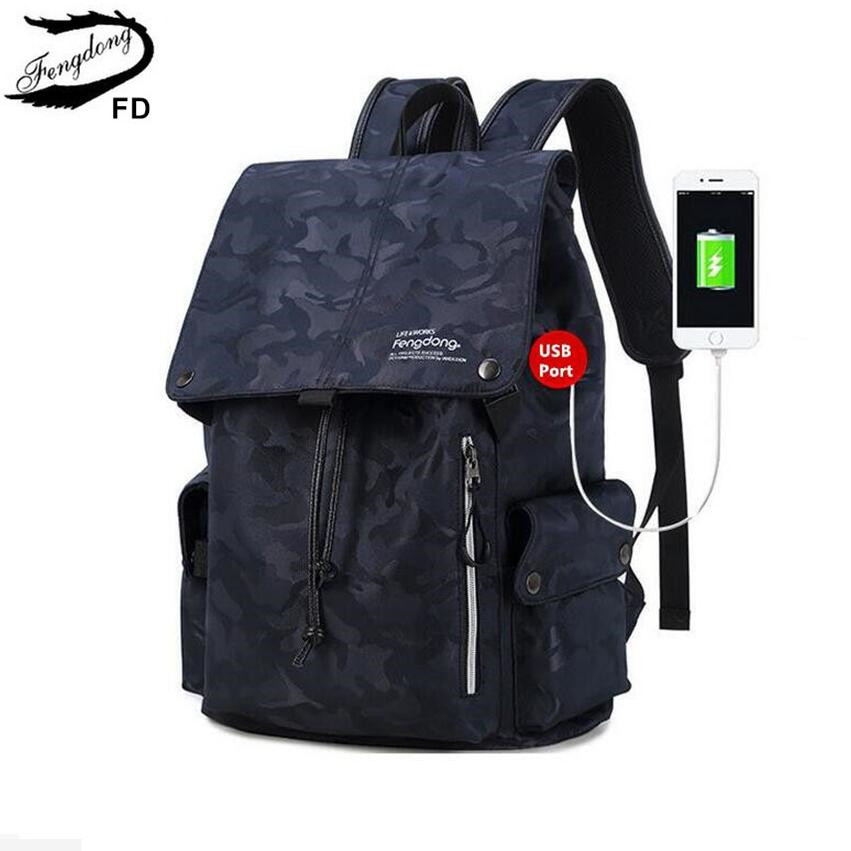 FengDong male usb charge backpack men travel bags waterproof blue camouflage backpack for boy school bags for teenagers rucksack<br>