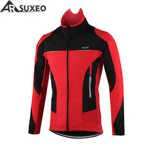ARSUXEO 2017 Thermal Cycling Jacket Winter Warm Up Bicycle Clothing Windproof Waterproof Sports Coat MTB Bike Jersey 15F(China)