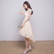 Real Photo YM10 Champagne Short Front Long Back Lace Bridesmaid Dresses Fast Shipping