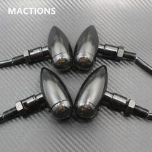 4Pcs Motorcycle M Black Metal Bullet Turn Signals Indicator Light For  Harley Mini SportsterBobber Chopper