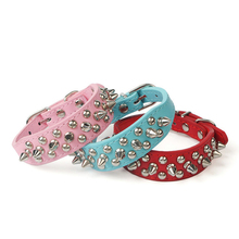 Chic Rivet Pet Dog Collar Spiked Studded Strap Pitbull Collars Necklace PU Leather Pet Products mascotas cachorro collar perro(China)