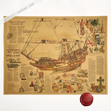 Ancient sailing boat Hand drawing Vintage Paper Posters Retro art Wall Decoration 60*45cm