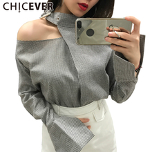 CHICEVER 2017 Summer Plaid Viatage Female T shirt For Women Tops Sexy Off Shoulder Wild Half High Collar Top Korean Clothes