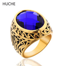 HUCHE Texture Floral Carved Stainless Steel Rings #8-12 Men Large Ring With Black/Blue Simulated Gem Stone ZBR074/ZBR075