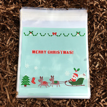 100pcs Blue Santa Clause Sleigh Cookie Packing Plastic Wedding Candy Bag Cake Decorations Party Supplies 10cm*10cm