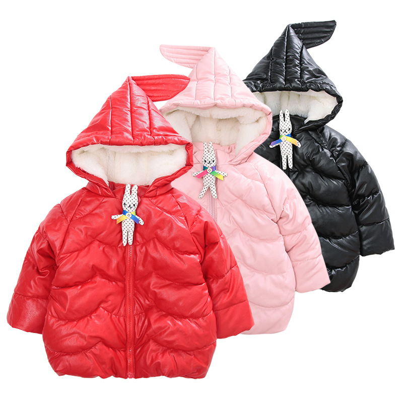 Winter 2017 fashion baby coat pure color plus velvet thickening hooded cotton-padded jackets toddler kids leather outerwearÎäåæäà è àêñåññóàðû<br><br>