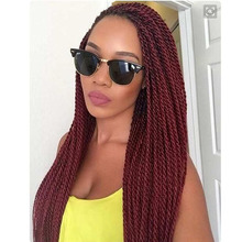 Natural Burgundy Kinky Twist Braid Lace front Wigs Synthetic Lace Front Wigs African American Glueless wigs For Black Women