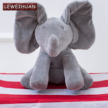 Peek a boo Elephant Plush Toy Electronic Flappy Elephant Play Hide And Seek Baby Kids Soft Doll Birthday Gift For Children(China)