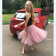 yiwumensa 2018 Mauve Red Tutu Tulle Skirts 6 layers Midi skirt Pink Women Fashion Design saias femininas formal faldas cortas(China)