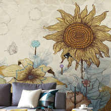 Comics sunflower wallpaper warm vintage wallpaper large mural wall covering three 3d wallpaper background clothing fashion pers