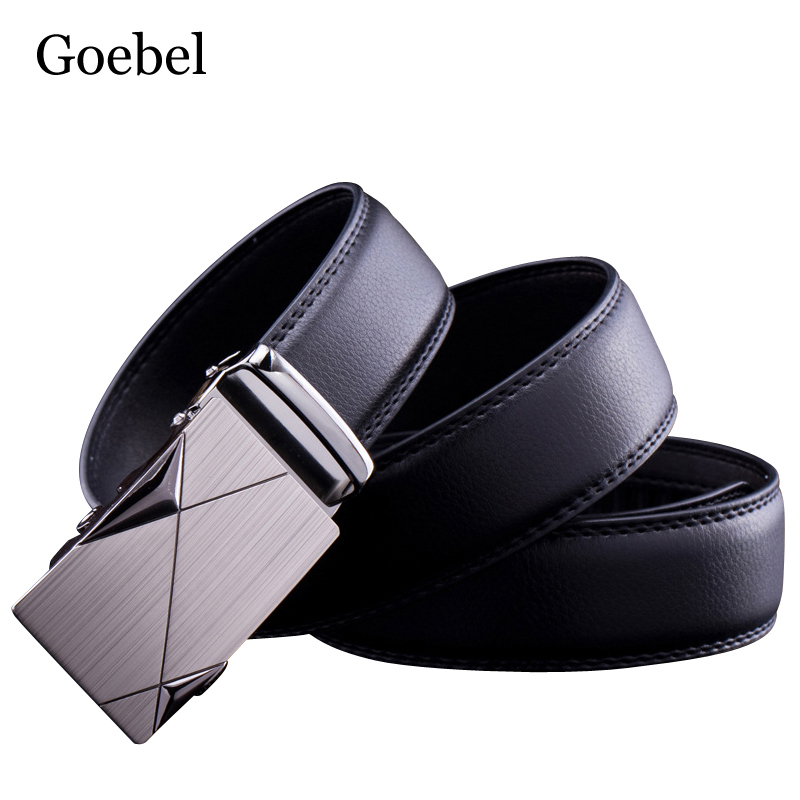 Goebel Mens Alloy Buckle Belts PU Leather Automatic Buckle Male Business Belts Casual Fashion Man Black Brand Belts