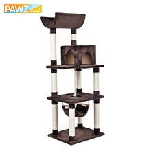 New H161cm Cat Toys Climbing Tree for Cat Fun Scratching Solid Wood for Cats Climb Frame Kitten Furniture with Hammock(China)