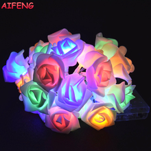 AIFENG 10Led 20Leds Rose Garland AA Battery Light String Cold Warm White Colorful Pink Rose Garland Christmas Wedding Decoration