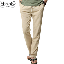 High quality 2017 brand men summer linen pants mens loose pants Casual thin straight trouser pants for men