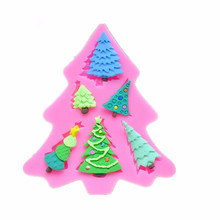 Silicone Cake Decorating Mold Fondant Cupcake Candy Chocolate Soap Christmas Tree Sugarcraft Silicone Mould A1173