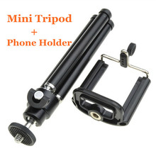 2in1 mini Table Tripod light Stand Holder For Camera Mobile Phone Cellphone For iPhone/Samsung Galaxy /HTC with Phone Holder