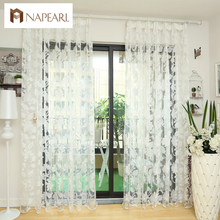 Tulle curtains floral design window treatments white fabrics ready made jacquard kitchen door curtains sheer panel transparent(China)