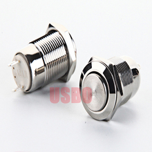 Latching 2A 250V Silver Contact 12mm Self Locking Metal Button Switch Without Lamp Waterproof Push Button Switch Stainless Steel