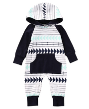 Newborn Kids Baby Boys Winter Warm arrow hooded Romper Infant Jumpsuit 0-24M Clothes Outfit