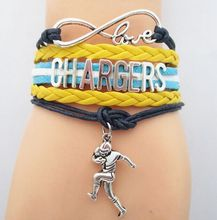Hot sale Love Chargers Football running man bracelets charm Chargers football man souvenir