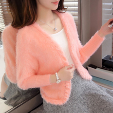 2017 New fashion Autumn Women Short Style Mohair sweater V-neck Bat Sleeve Thick Warm knitted sweater ladies' Cardigan knitwear(China)