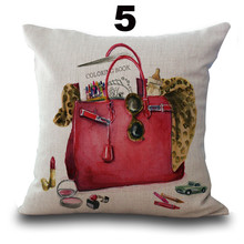 "Cotton Linen Square 18"" Brand Perfume Bottle and channel Printed Sofa Decorative Cushion Covers Room Chair Pillow Case"