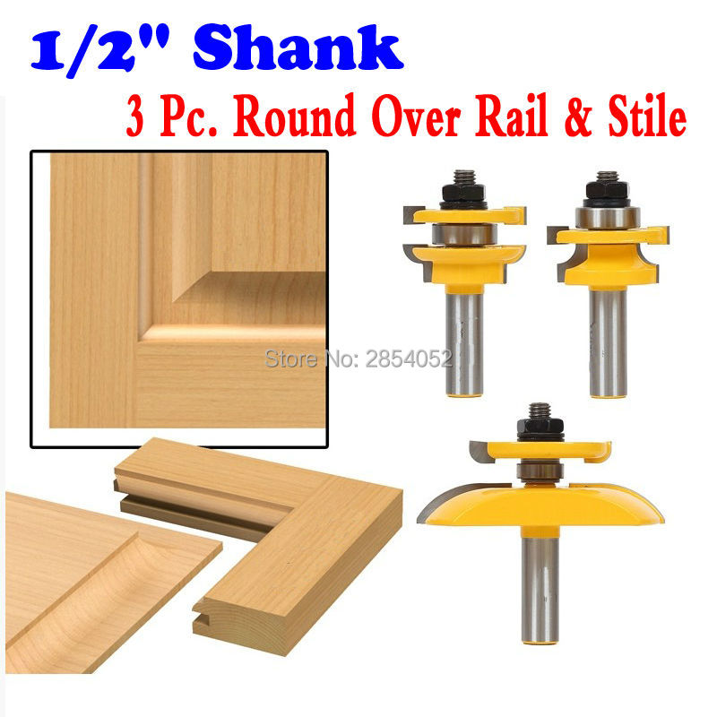 1/2 Shanks Round Over Rail &amp; Stile with Cove Panel Raiser 3 Bit Router Bit Set Tenon Cutter for Woodworking Tools<br>