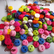 200pcs 6mm Mix color 2 holes round mini resin buttons craft scrapbooking accessories diy sewing buttons wholesale