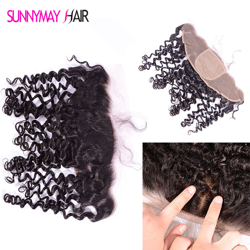 Brazilian Virgin Hair Deep Curly 13*4 Silk Base Frontal Natural Hairline Bleached Knots Ear To Ear Lace Frontals With Baby Hair<br><br>Aliexpress