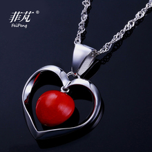Hot 925 Sterling Silver Heart Pendant Necklace Platimum Plated Good Gift for Women with Red Adzuki Bean & Cubic Zirconia Stone