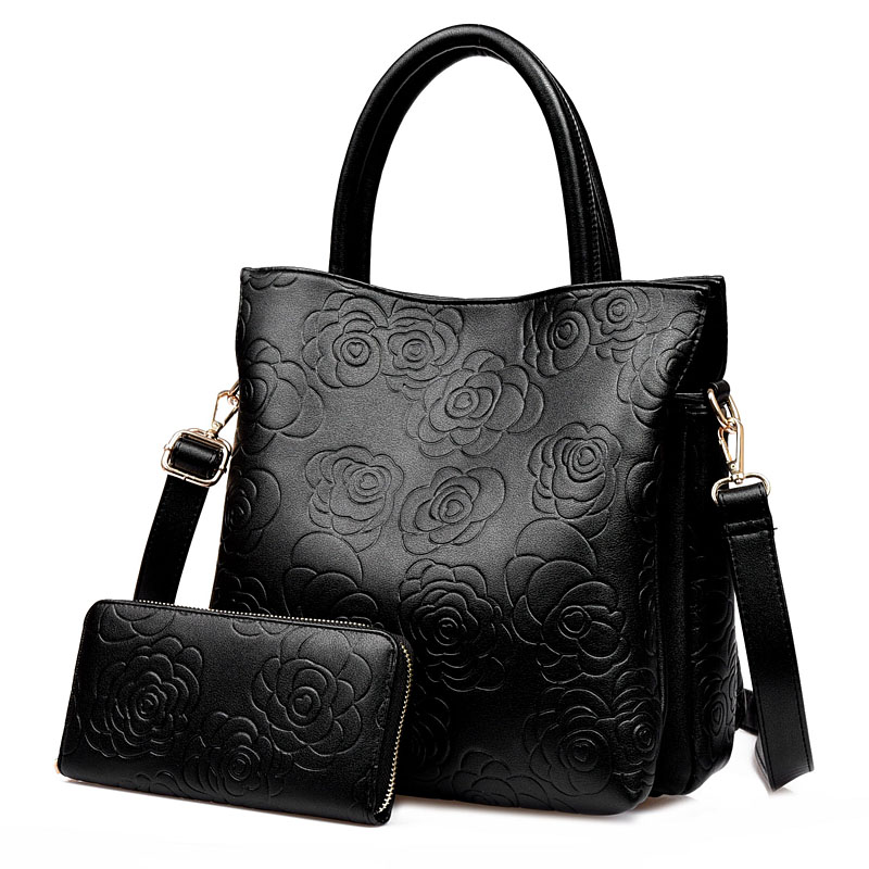 Trendy Women Large Capacity Flowers Embossed Handbag Shoulder Messenger Bag Composite Casual Tote<br><br>Aliexpress