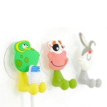 1 PCS Cute Cartoon Home Sucker Toothbrush Holder Sundry Towel Suction Hooks Lovely Children Toothbrush Rack Bathroom Tools