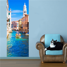 2 sheets/pcs 3D Venice Canal Door Sticker Sea City Landscape Mural Poster Elegant DIY Wall Picture for Bedroom Office Cafe Decor