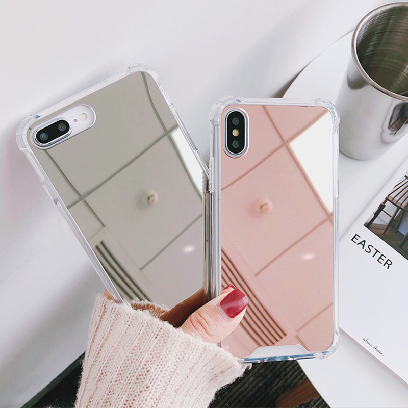 Luxury Mirror case For iphone XS Max XR Cover silicone soft TPU shockproof case for iPhone 6 6s 8 7 plus X coque women makeup (3)