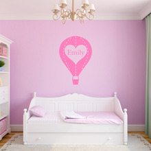 Personalised Any Name Hot Air Balloon Vinyl Wall Stickers Kids Room Decal(China)