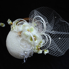 Unique Women Rhinestone Veil Hair Fascinator Clip Linen Flower Hat Lady Hairpin Church Tea Party Wedding Bride Hair Accessories
