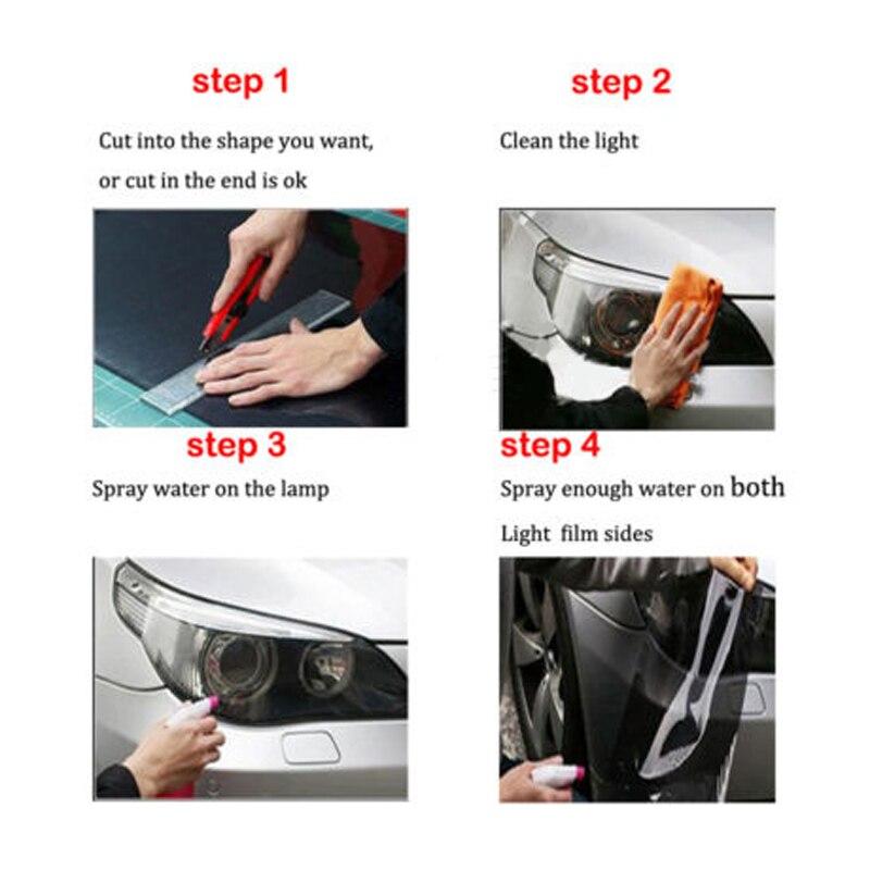30X120cm Transparent Car DIY Headlight Light Film Sticker Auto Fog Tail Brake Taillight Tint Vinyl Film Sheet Cover Sticker