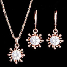 Atreus White Shining 1Set Gold Color Tempting Design Wonderful cubic zirconia Earring Pendant Necklace Lady Jewelry Set Gift(China)
