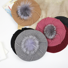 2017 Autumn and Winter Hat New God Raccoon Hair Ball Fashion A Full Range of Art Painter Cap Ray Berets Women Hat D594