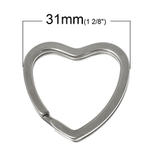 DoreenBeads 10PCs dull silver color Valentine Heart Split Rings Key Rings (B03297)