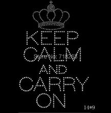 China factory supply  hotfix rhinestones motif heat trasnfer keep calm and carry on words for UK