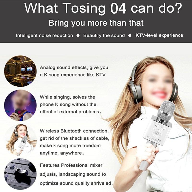 Original Brand Tosing Q9 04 wireless Karaoke Microphone Bluetooth Speaker 2-in-1 Handheld Sing & Recording Portable KTV Player-9
