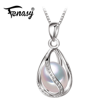 FENASY Pearl Jewelry,100% natural Pearl Pendant Necklace,fashion style Natural Freshwater Pearl Silver Necklace Pendant,gift box(China)