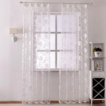 Free shipping Organza curtains made treatments ready Tulle fashion sheer window floral beige white modern curtain transparent