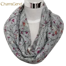Chamsgend Newly Design Women Lady's Fashion Birds Print Scarf Round O Ring Neck Soft Voile Scarves Dec15 Drop Shipping