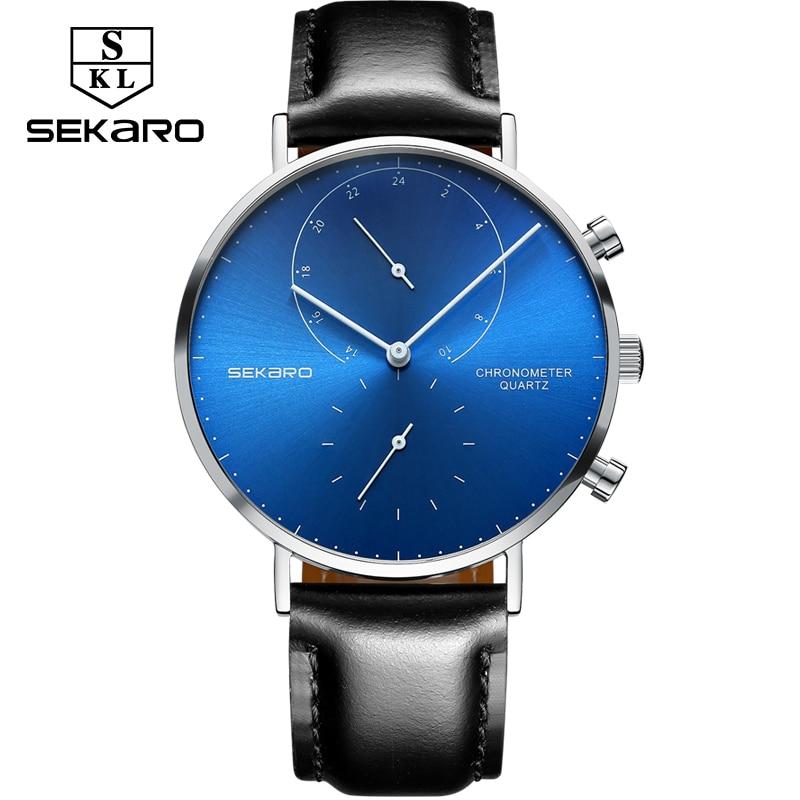SEKARO Brand Mens Watch Waterproof Mens Watches Top Brand Luxury Quartz Watches Men Wrist Two Timing Watch Relogio Masculino<br>