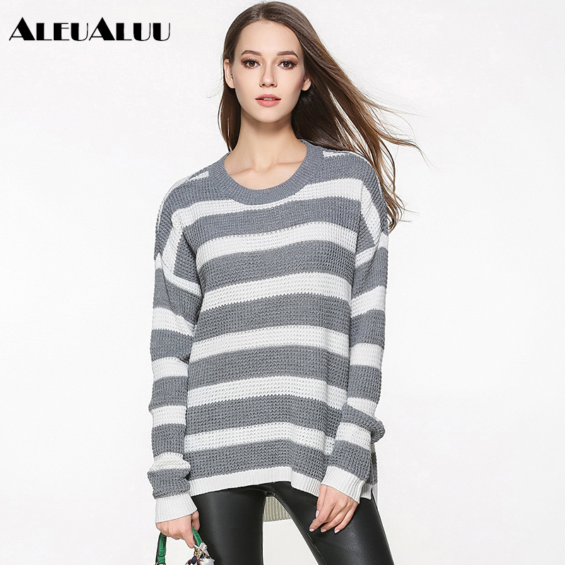 ALEUALUU 100% Polyester Women Striped Sweater Loose Casual O-Neck Pullovers Plus Size Autumn Winter Long Sleeve Thick Top AEU122