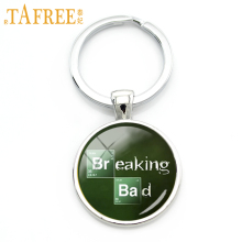 TAFREECharacter Breaking Bad art picture glass cabochon key chain gentleman solid color keychain jewelry handmade gift KC 062