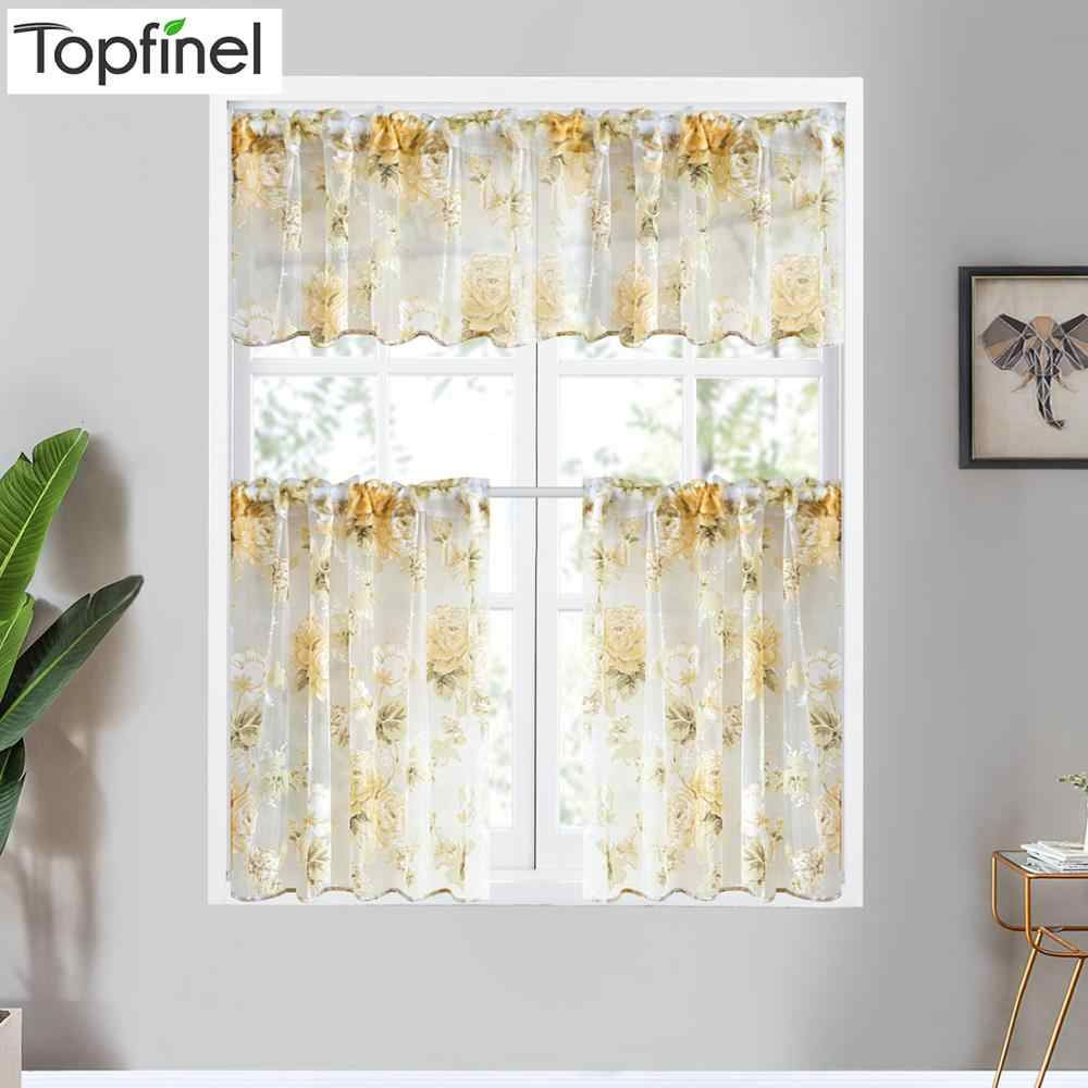 Topfinel Modern Rose Floral Short Curtains Tulle for Window Voile Sheer Drape for Kitchen Bath room Panel home decor